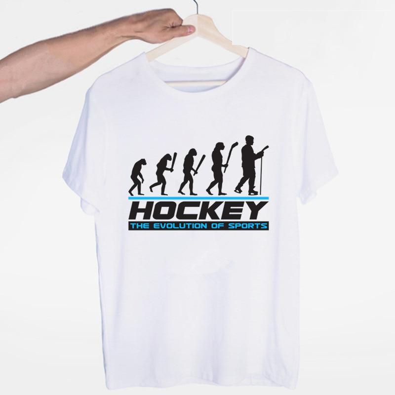 Men's Evolution of Ice Hockeyer T-shirt O-Neck Short Sleeves Summer Casual Fashion Unisex Men and Women Tshirt