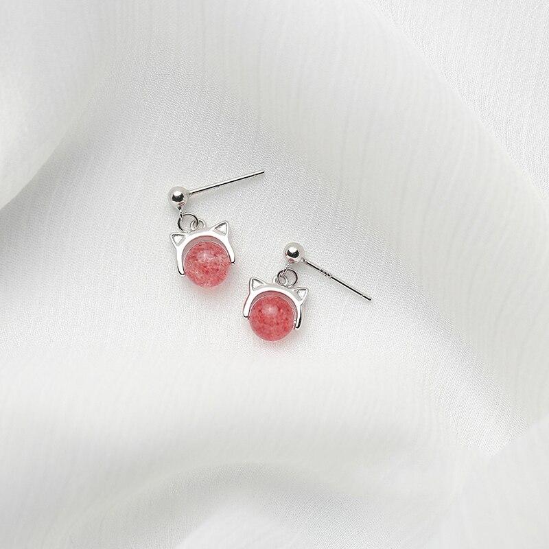 Sweet Style Silver Pink Cat Stud Earrings 925 Pink Cat Lucky Strawberry Quartz Earring For Women Children Girls Kids Jewellery
