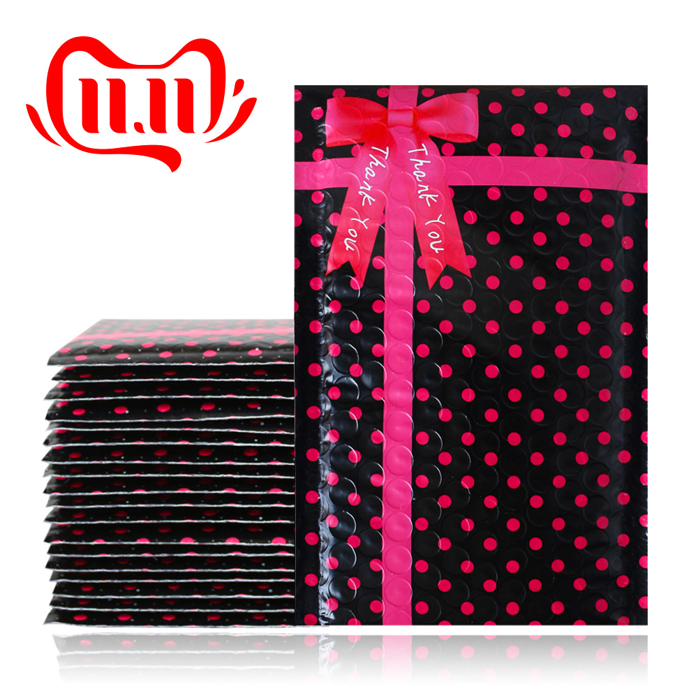 10PCS 4x7'' 120x180mm  Bowknot Design Small Black Polka Dots Poly Thank You Bubble Mailers,Self Sealing Padded Mailing Envelopes