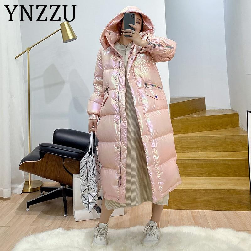 YNZZU High Quality 2019 Winter Women's Down Jacket Long Style Bright Thicken Warm Hooded Warm Duck Down Coat Woman Outwear A1406