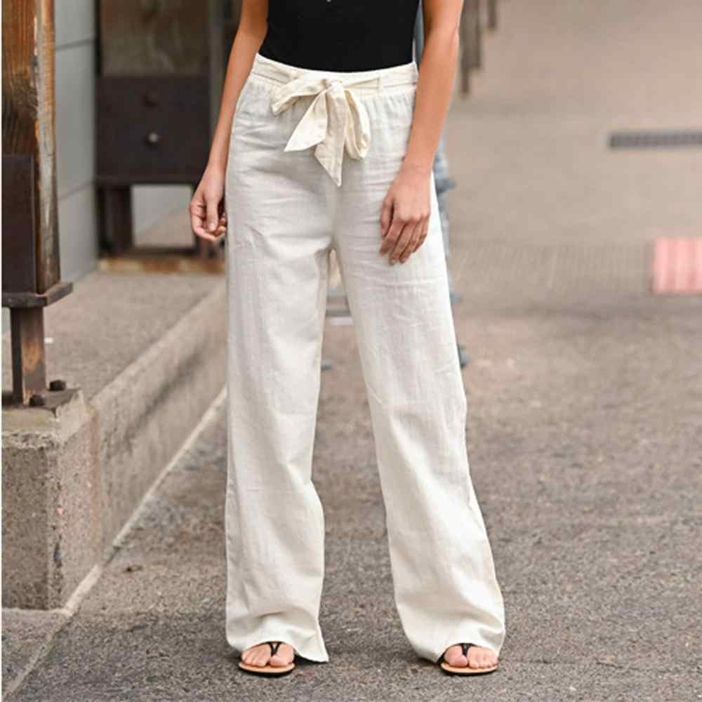 Neue Frauen Hohe Taille Breite Bein Hosen Mode Frauen Feste Bandage Lose Beiläufige Breite Bein Leggings Bottom Lange Hosen Hosen