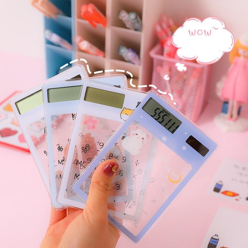 1PCS Transparent Cute Cartoon 8-digit Calculator Solar Energy Mini Portable Calculator Pocket  School Supplies Kawaii