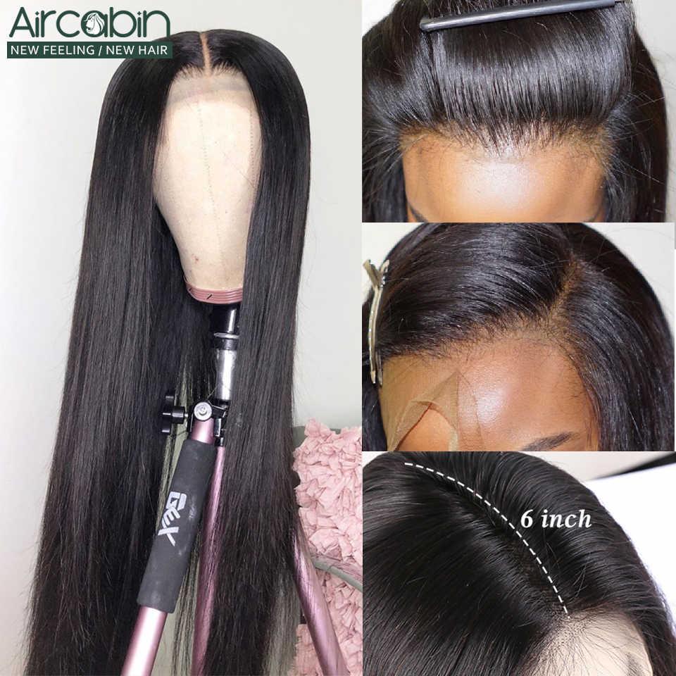 "Aircabin 13X6 Lace Front Pruiken Braziliaanse Straight Human Hair 13X4 28 ""30"" 32 ""lange Pruiken Lijmloze 150% Dichtheid Zwitserse Lace Non-Remy"