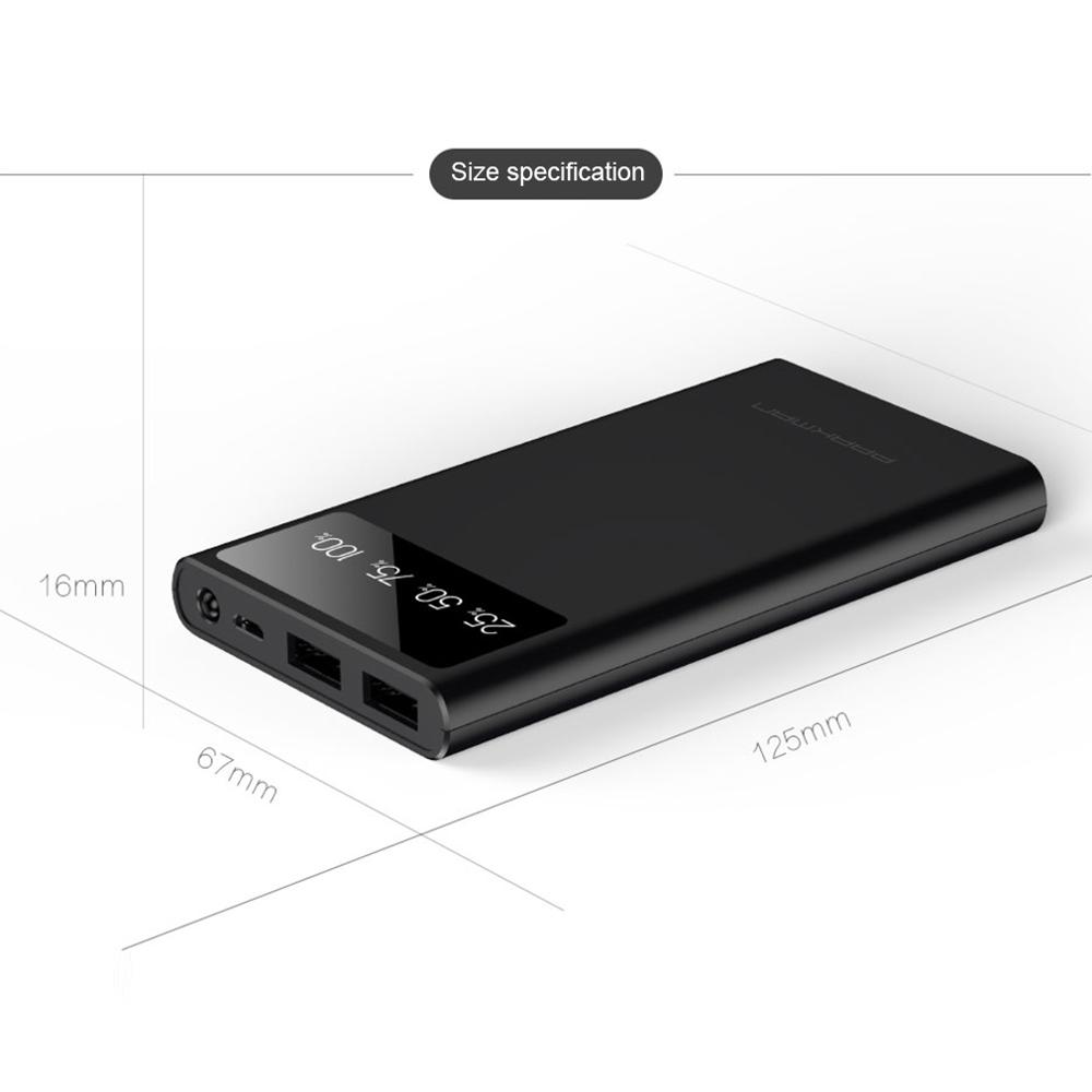 Black A1 10000mA 5V Wear resistant Scratch proof with LED Lighting Dual USB Output Power Bank Supply For Mobile Phone|Jump Starter| |  - title=
