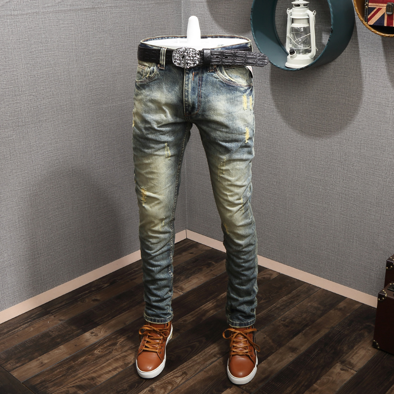 Italian Style Fashion Men Jeans Retro Wash Destroyed Baggy Pants Ripped Jeans Men High Quality Vintage Designer Slim Jeans Homme