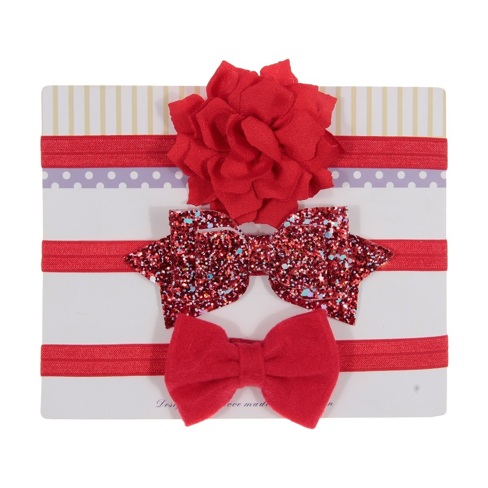 New 3pcs/lot Sequin Felt Bow Lotus Flower Elastic Headbands Kids Photography Props Baby Girls Cute Headwear Christmas Gift Sets