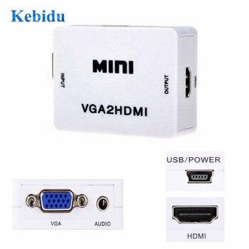 KEBIDU HD 1080P MINI VGA2HDMI Audio Video VGA To HDMI HD HDTV Video Converter Box Adapter For PC Laptop DVD High quality