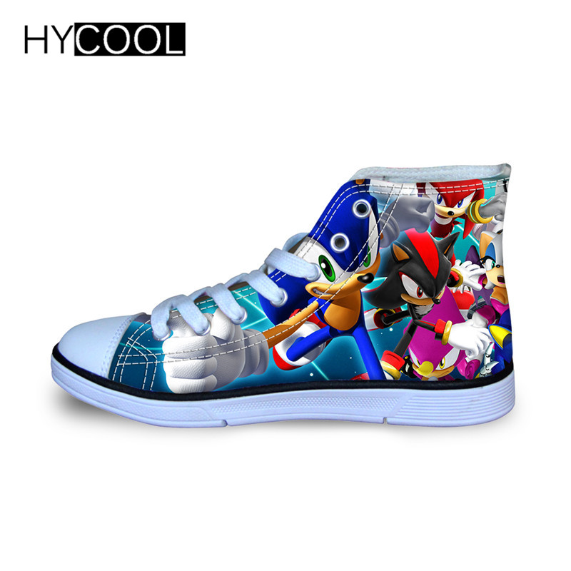 Hycool children running shoes for kids boys sonic the hedgehog sneakers outdoor sports shoes high top canvas shoes toddler child