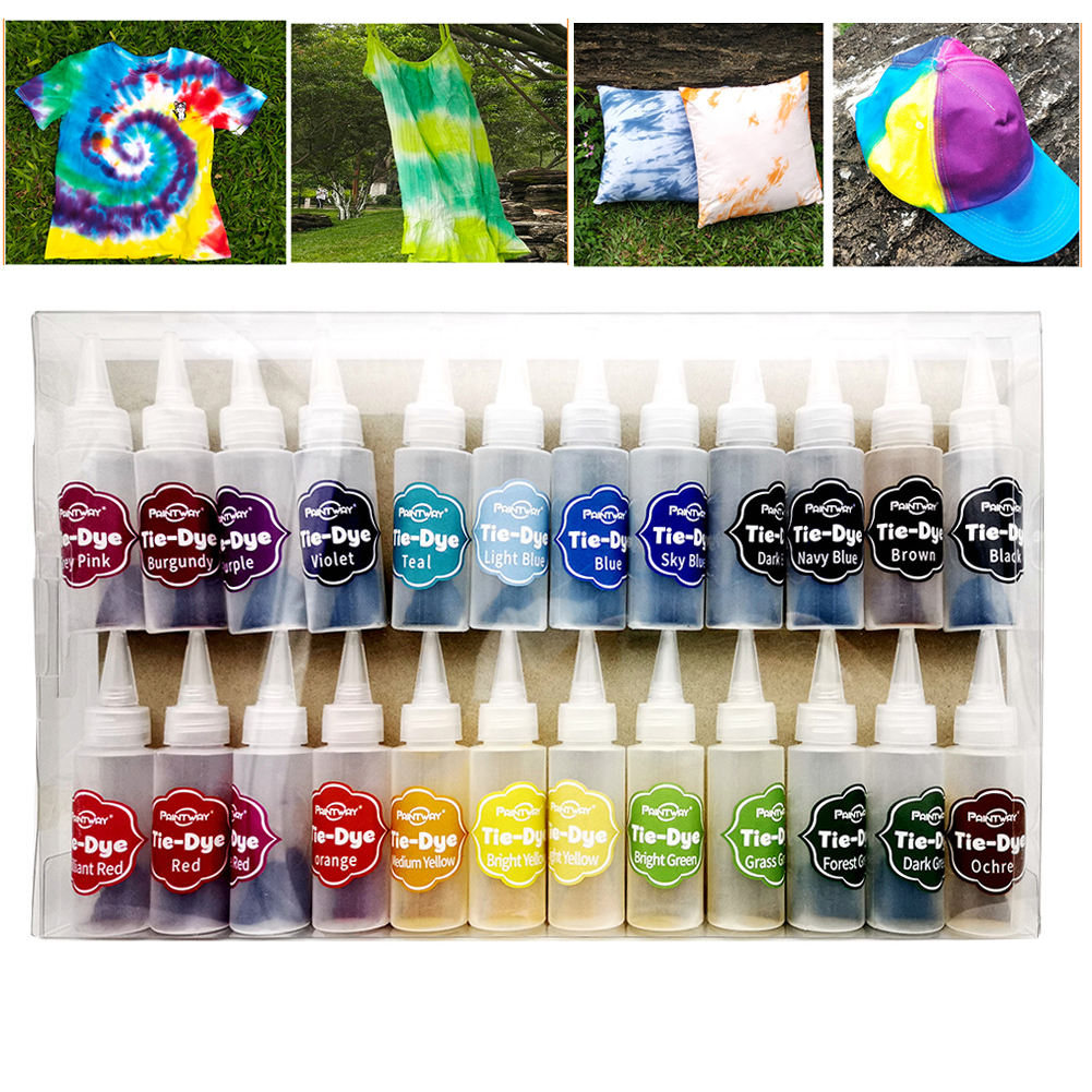 Textile Paints Clothing Graffiti Coloring Hand Work DIY Craft Tie Dye Kit Permanent With Rubber Band 24 Colors  Fabric
