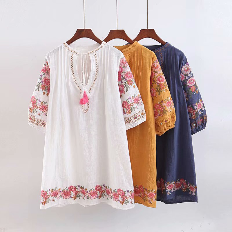 Europe And America 2019 Summer Style Ethnic-Style Three-Color Embroidered Lantern Sleeve Holiday Dress Loose-Fit Short Skirt K7-