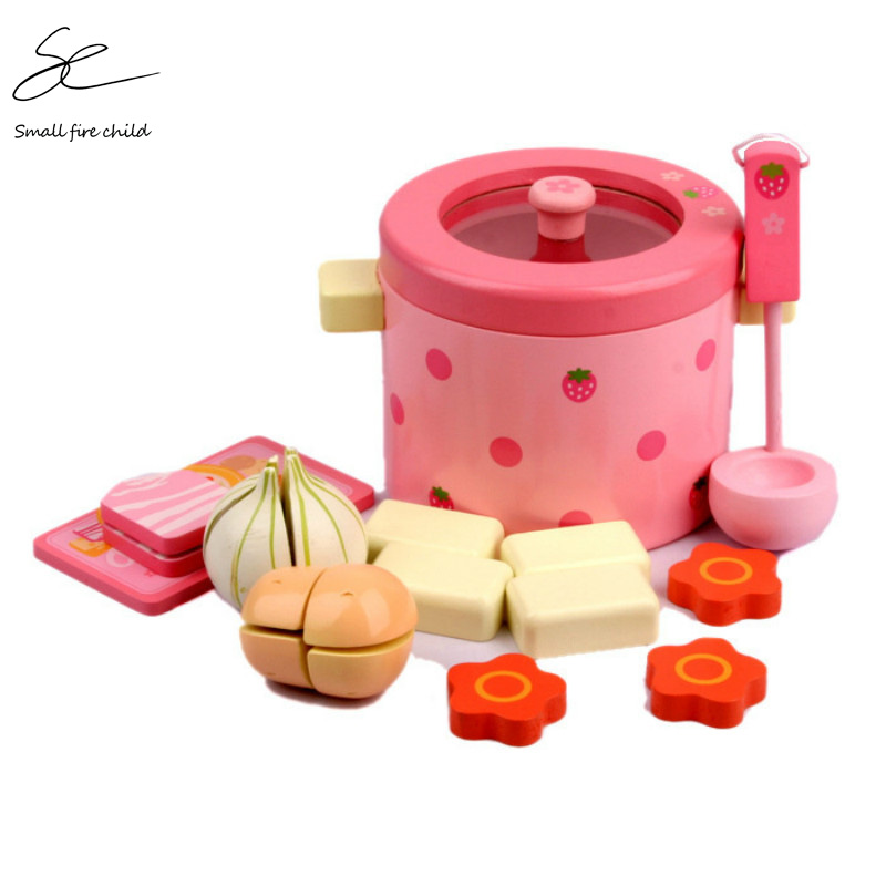 NEW Baby Toys Super Cute Simulation Vegetable Hot Pot Wooden Toys Play FoodPlay Food Set Birthday Gift image