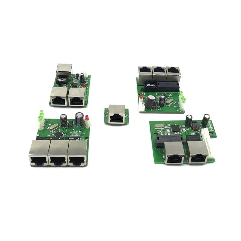 OEM factory direct mini fast 10   100mbps 3-port Ethernet network lan hub switch board two-layer pcb 3 rj45 5V 12V head port