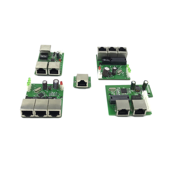 OEM factory direct mini fast 10 / 100mbps 3-port Ethernet network lan hub switch board two-layer pcb 3 rj45 5V 12V head port - discount item  25% OFF Networking
