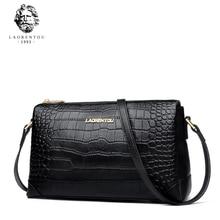 купить LAORENTOU Brand Lady Fashion Small Messageer Bags Vintage Women Cow Leather Crossbody Bag Female Alligator Flap Shoulder Bags дешево