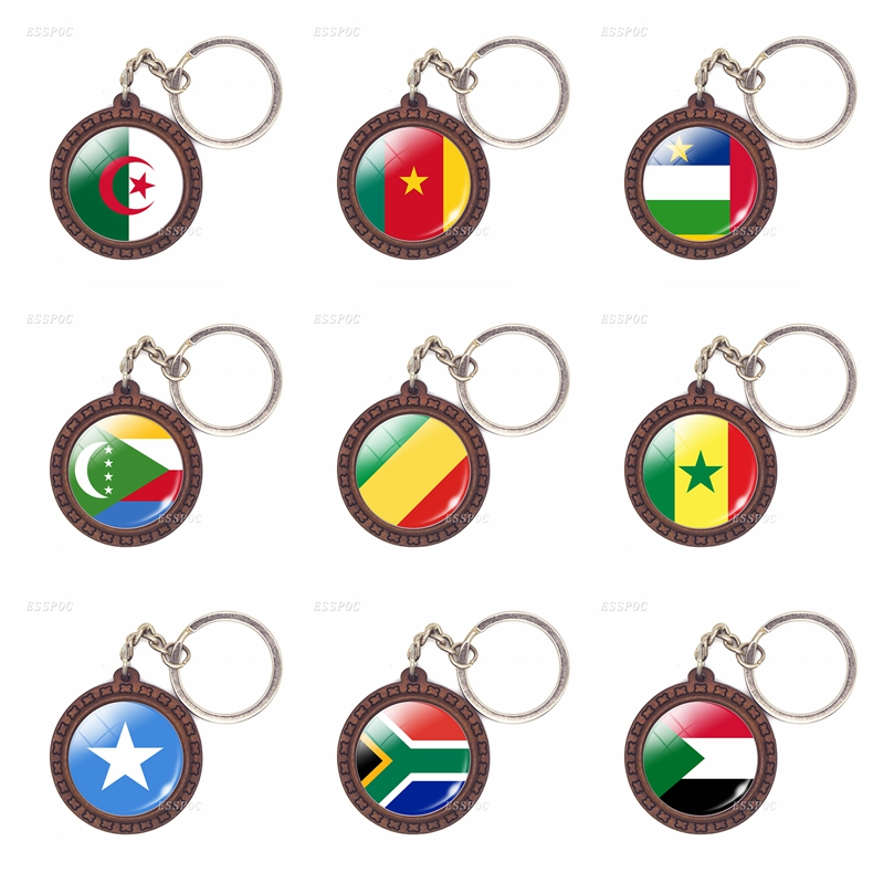 National Flag USA UK Russia Spain Brazil Wooden Keychain Glass Cabochon Jewelry Key Ring Chain Women Men Patriot Souvenir Gifts image