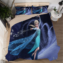Frozen Elsa Princess Bedding Set Twin Size Quilt Duvet Cover for Girls Bedroom Decor Queen Coverlets Single Bed Linen Kids(China)