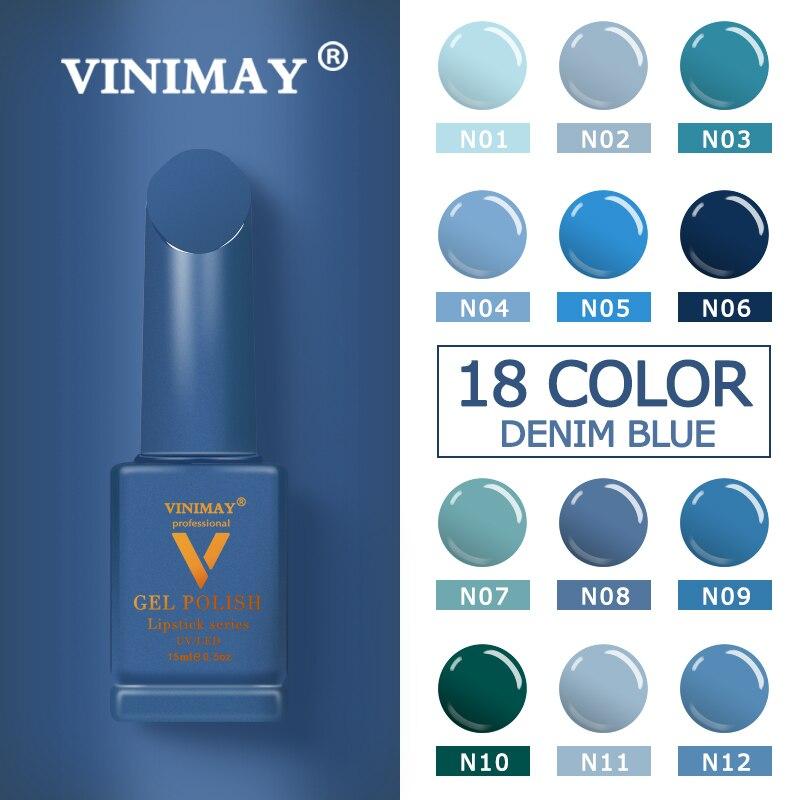 VINIMAY 18 Color Jeans Blue Gel Nail Polish Varnish Nail UV Soak Off Gellak Gelpolish Nail Art Primer Manicure Nails Gel Lacque