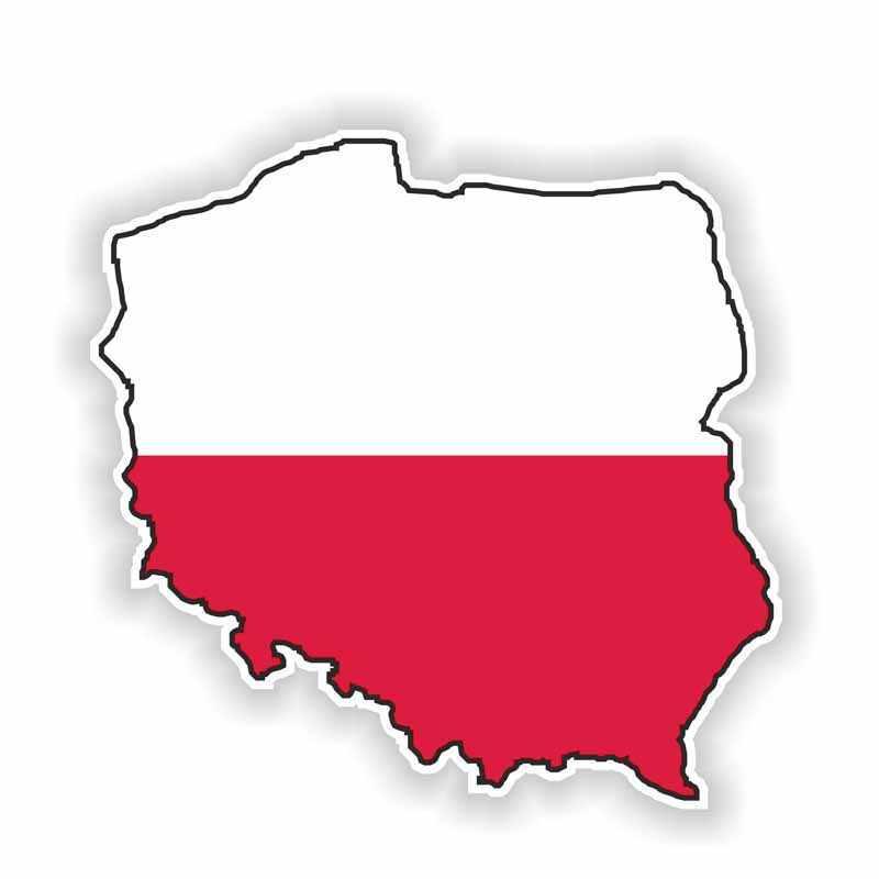 Aliauto pegatina de coche creativa Polonia mapa accesorios de la bandera de vinilo etiqueta para cubrir rasguños para Vw T4 Renault Clio Saab Kia 13cm * 13cm