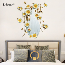 DICOR Simulated Stereo 3D Wall Sticker Flower Living Room Art White Vase Vinyl Waterproof Removable Wedding Decoration