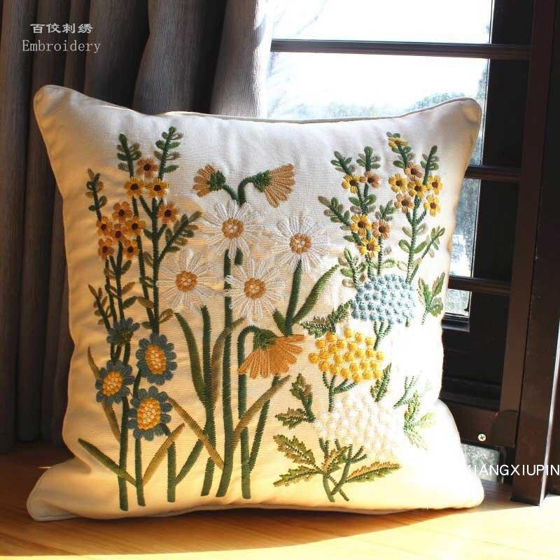 Вышитая Европейская пасторальная Цветочная Подушка, хлопковая подушка для кресла, Современный домашний декор дивана, Прямоугольная подушк...
