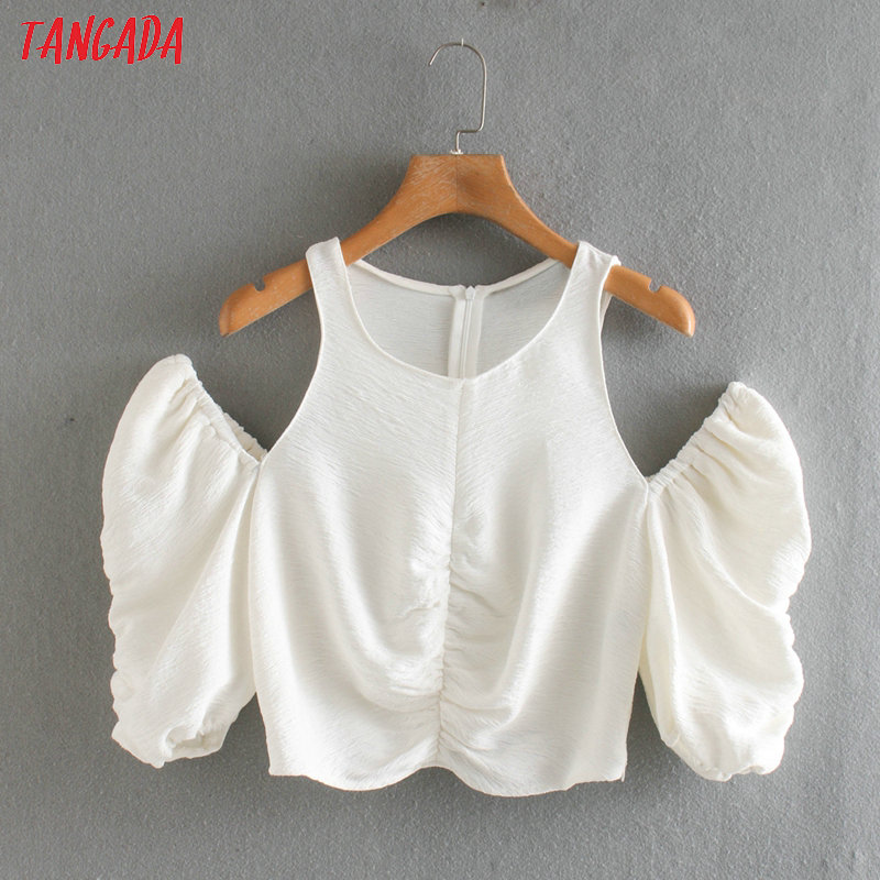 Tangada Women Pleated Office Shoulder White Shirts Long Sleeve Solid O-neck Ladies Casual Crop Blouses 2XN20