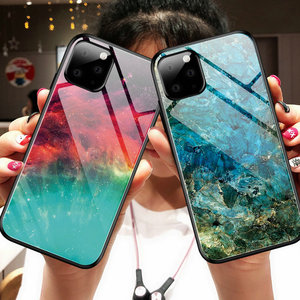 Image 2 - 100pcs/lot For iPhone 11 Pro Max Hard Tempered Glass Marble Gradient Back Soft Side Case For iPhone 11