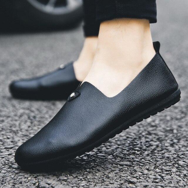 Moda concisa ocio hombres mocasines ligeros lisa, primavera otoño zapatos planos de conducción clásicos Soft ComfySlip en zapatos