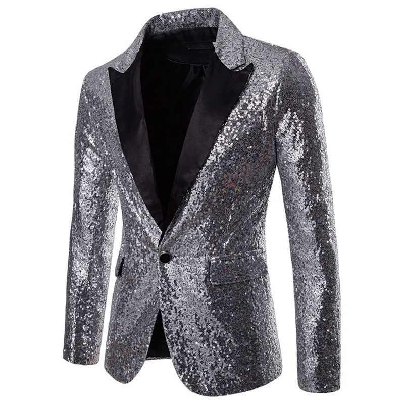 Pria Emas Mengkilap Payet Glitter Dihiasi Jaket Pria Klub Malam Blazer Pesta Pernikahan Jas Tahap Penyanyi Pakaian