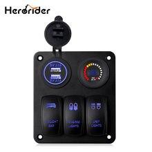 Herorider 3 gang клавишный переключатель панель автомобильный