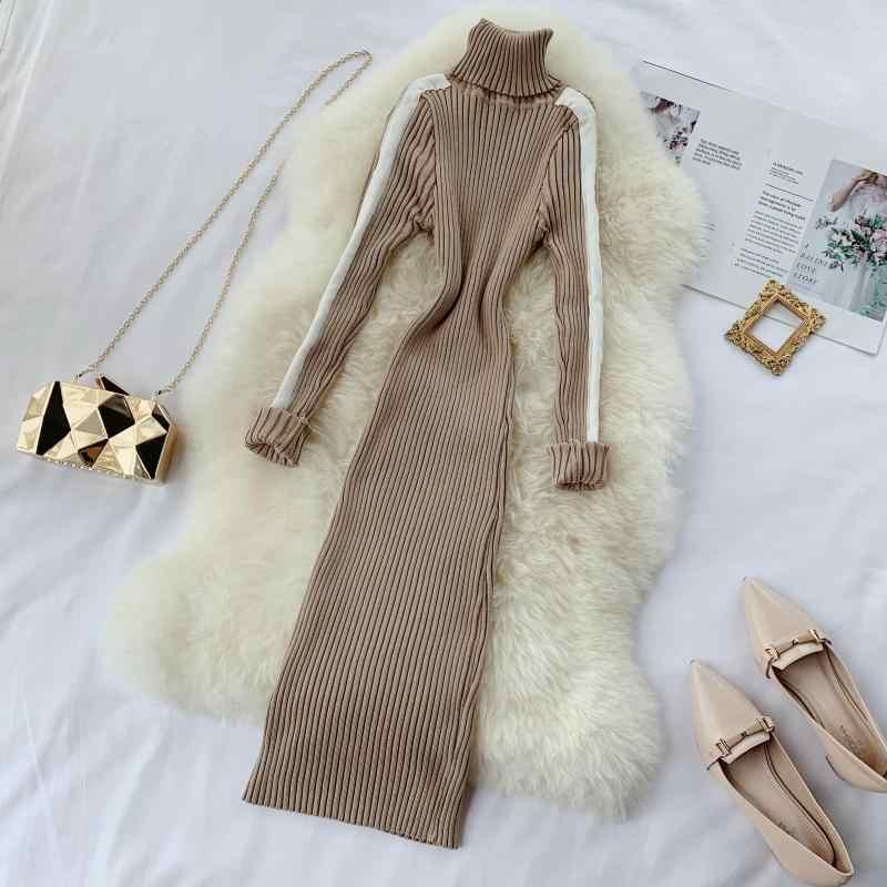 Модная водолазка, тонкий осенне-зимний облегающий вязаный свитер, тонкое Мини Короткое платье, вечерние женские повседневные теплые платья с длинными рукавами