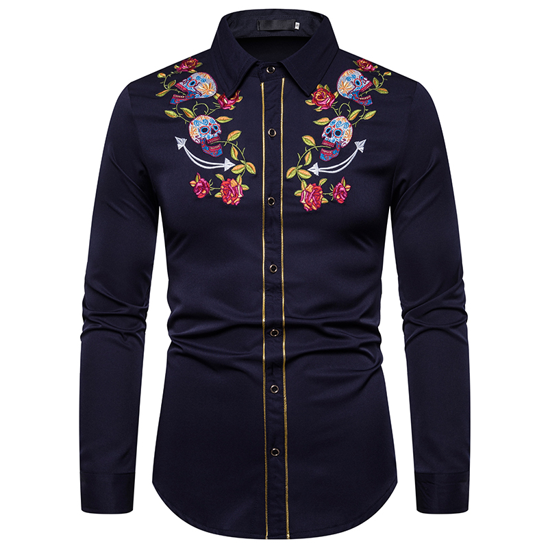 MJARTORIA Mens Fashion Western Cowboy Skull And Rose Embroidery Shirt Slim Fit Casual Long Sleeve Button Down Dress Shirts