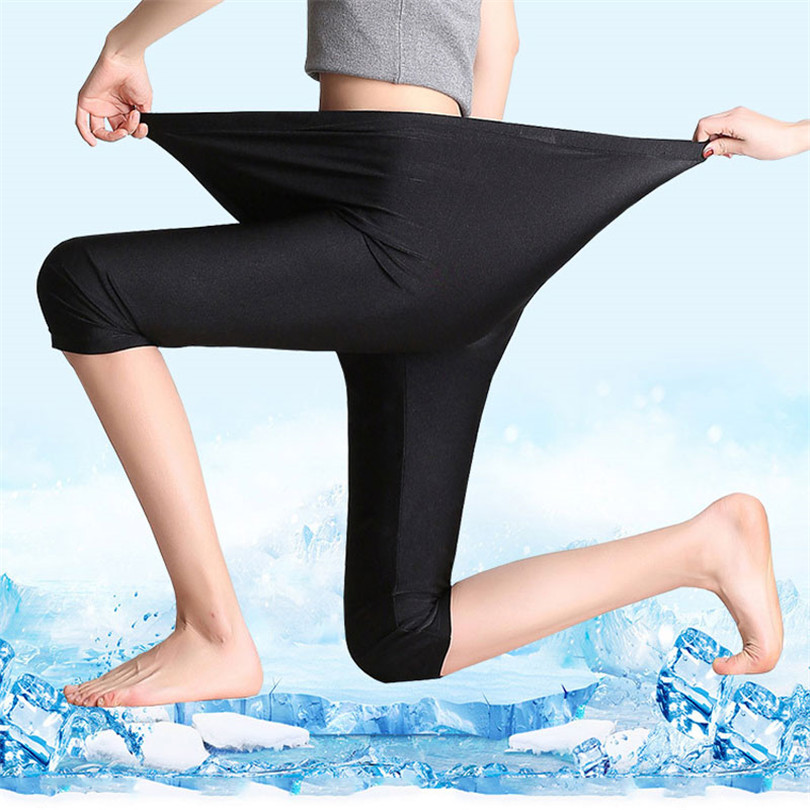 LJCUIYAO Size S-7XL Women Shiny Legging Ladies Push Up Slim Leggings High Waist Stretchy Soft Capris Large Size Women Legging