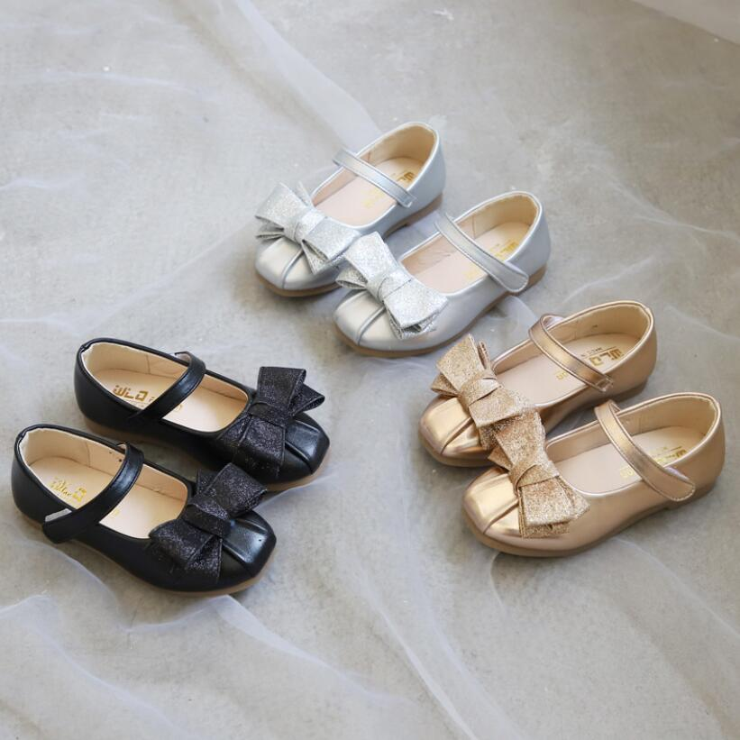 Kids Shoes Princess School Shoes Gold Silver Black Children Leather Party Dress Flat Little Girls Shoes Baby Casual Sneaker