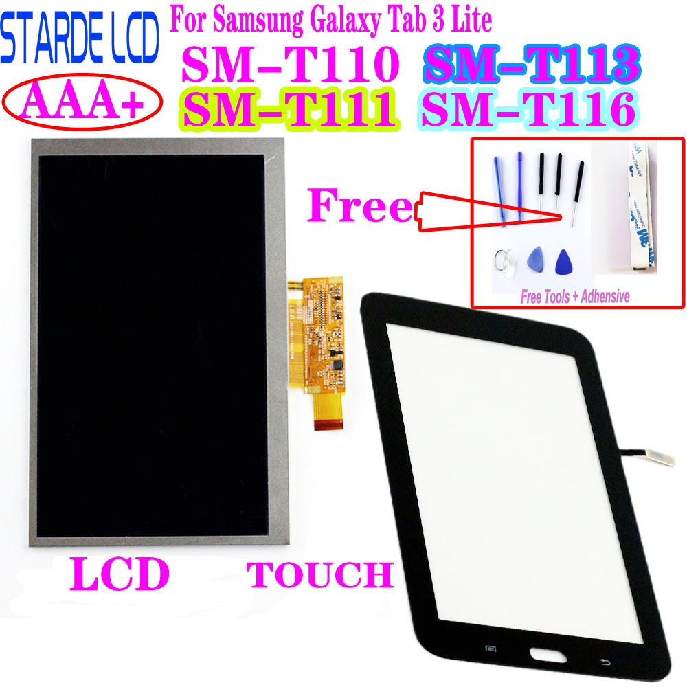 Touch Screen Digitizer Panel + LCD Display For Samsung Galaxy Tab 3 Lite SM-T110 T111 T113 T116 T113NU LCD Repair Parts