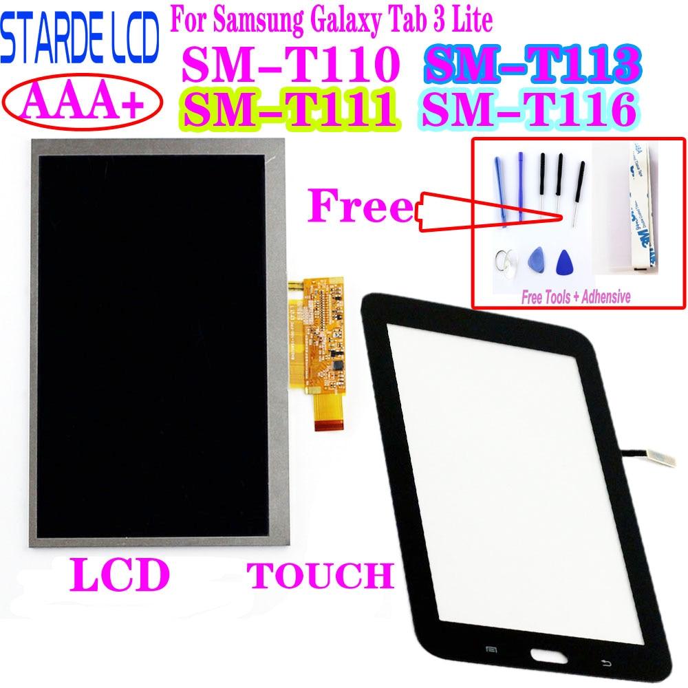 Панель дигитайзера сенсорного экрана + ЖК-дисплей для Samsung Galaxy Tab 3 Lite SM-T110 T111 T113 T116 T113NU, запчасти для ремонта ЖК-дисплея