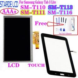 Painel digitalizador de tela touch +, display lcd para samsung galaxy tab 3 lite SM-T110 t111 t113 t116 t113nu reparo lcd peças
