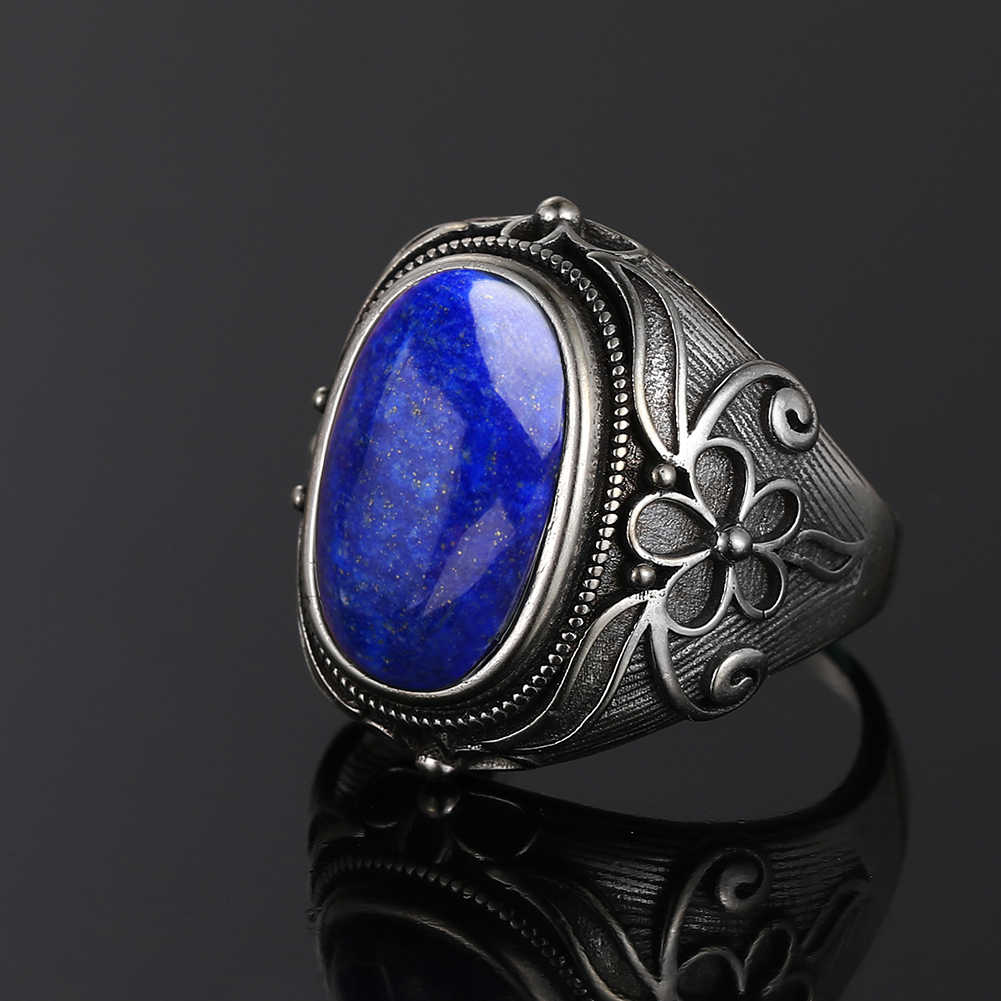 Nasiya Sang Trọng Vintage Nhẫn Bạc 11X17MM Oval Lớn Lapis Lazuli Nhẫn Nam Nữ Trang Sức Viễn Chí Bảo đảng Kỷ Niệm