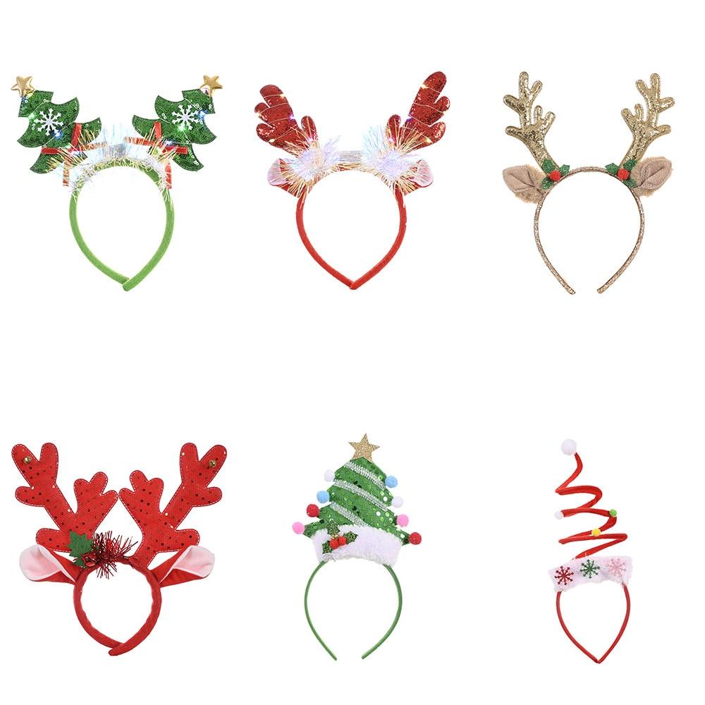 Рождественский обруч на голову с рогами, милые рождественские украшения, ободок для волос Noel, повязка на голову с новым годом 2020, Natal, предлож...