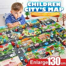 130*100cm cidade mapa carro brinquedos, modelo rastejando, tapete, jogo, almofada para crianças, interativo, jogar casa, brinquedos, estrada acessórios para carro carpete