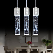 Хрустальный пузырьковый светодиодный подвесной светильник длинная трубка подвесной светильник кухня столовая Магазин Бар Украшение цилиндрическая труба подвесной светильник