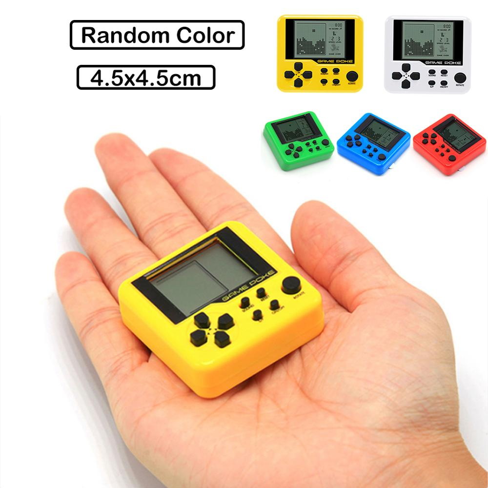 Portable Mini Classic Games Tetris Child Pocket Game Consoles Electronic Pets Games Machine Tetris Brick Gaming Keychain Toys