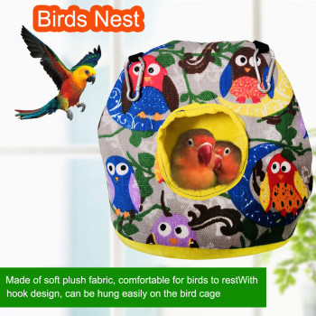 New Style Owl Hammock Bird Nest Warm Thick Cylindrical Bird Tent Plush Warm Hut Hanging Bed for Cage Sleeping Bed Parrot Cave image