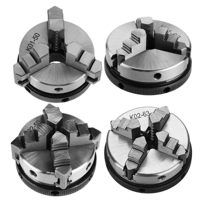 3/4 maxilas de aço madeira torno chuck 50mm 63mm mandril manual auto-centralização diy ferramentas de torno de madeira de metal