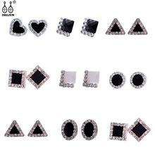 DREJEW Heart Square Triangle Round Flower Statement Earrings 2019 Black White 925 Stud for Women Wedding Jewelry AE3400