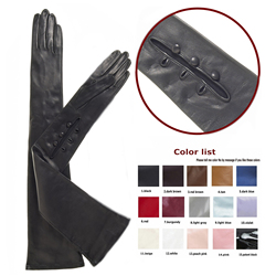custom made 40cm to 80cm long wrist buttons(style 1) real sheep leather evening opera gloves 12 colors to choose
