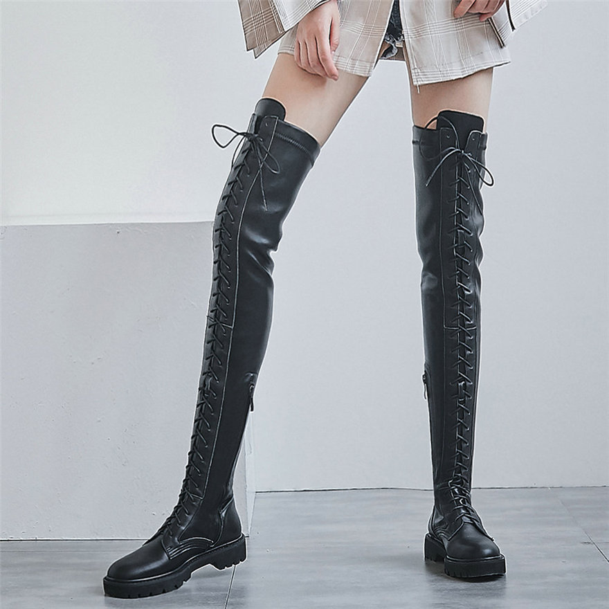 2021 Winter Shoes Women Stretchy Low Heels Over The Knee High Military Boots Female Lace Up Round Toe Platform Fashion Sneakers