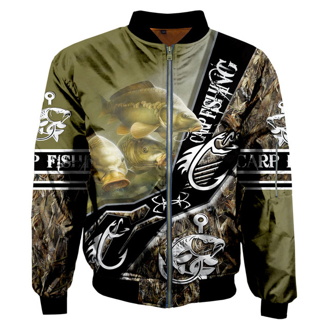 Carp fishing zipped bomber jacket Green