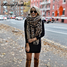 Коричневое пончо леопардовое женское зимний шарф-одеяло теплые мягкие кашемировые плотные длинные женские шарфы с кисточками пончо шарф женский платок палантин платки кашемир платок на шею большие размеры
