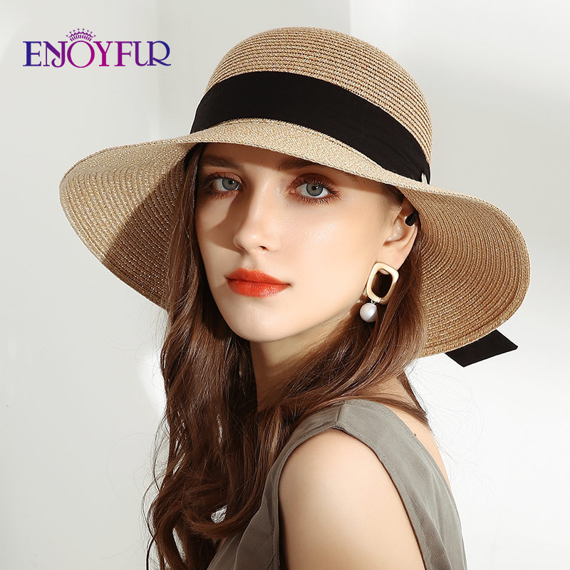 ENJOYFUR Summer Sun Straw Hats For Women Wide Brim Ribbon Bow Beach Hat Female Fashion UV UPF Sun Protection Hats For Travel