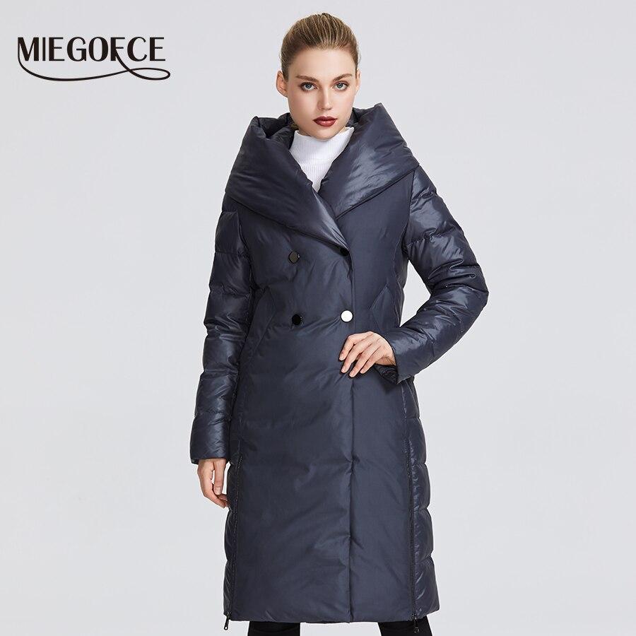 MIEGOFCE 2019 Новая зимняя женская коллекция года женские куртки необычный дизайн сшит из двух материалов который придает необычный стиль женска...